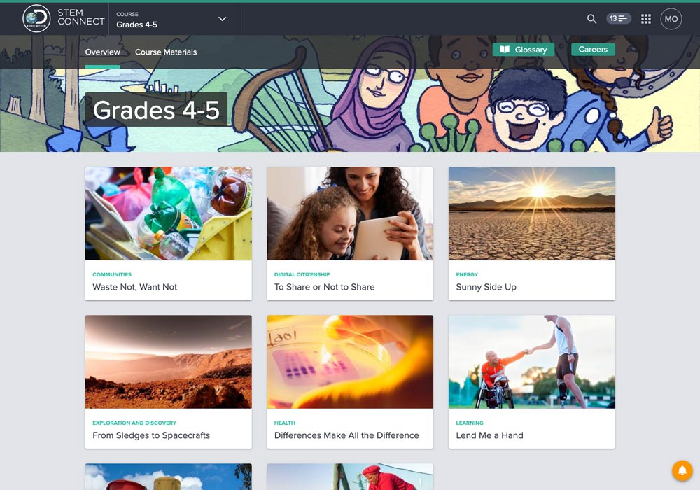 Screenshot of STEM Connect Grades K-12