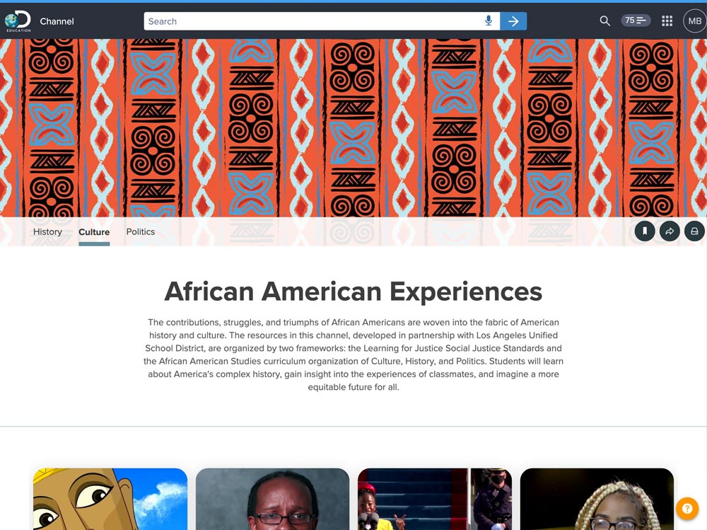 Screenshot of the African American Experiences channel in Discovery Education