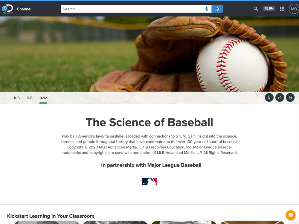 Screenshot of the The Science of Baseball channel in Discovery Education