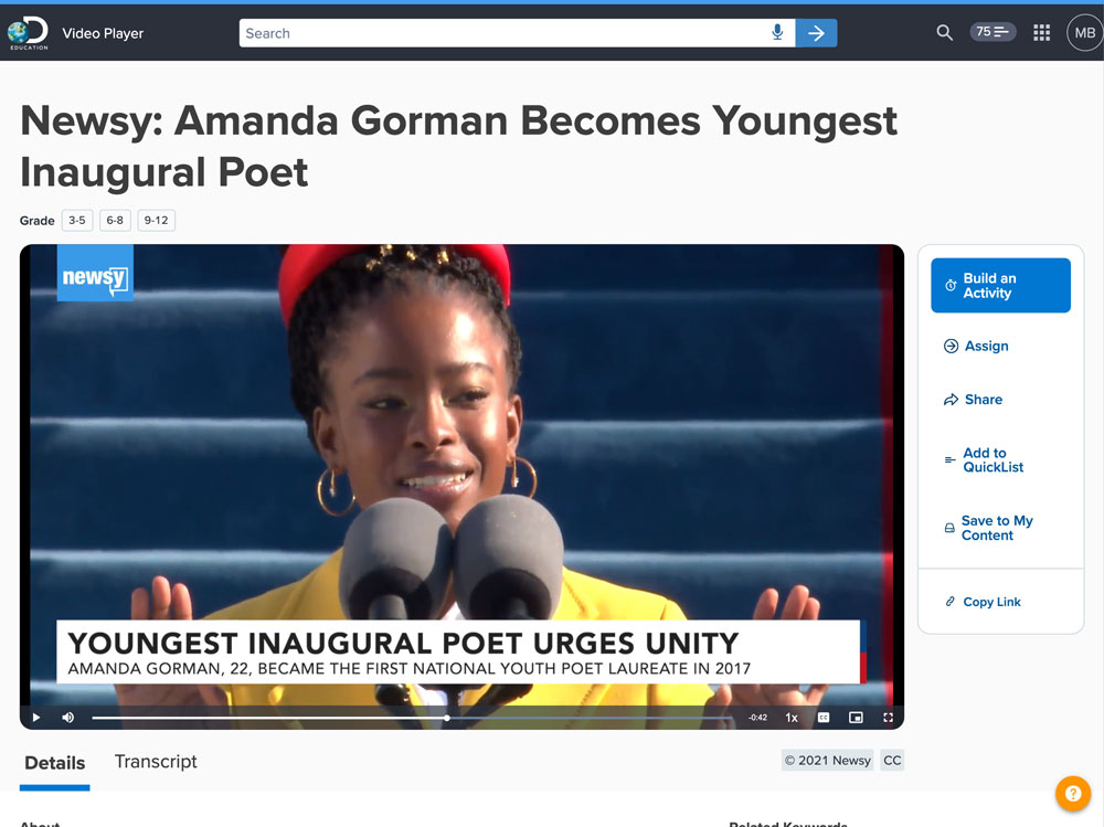 Screenshot of the Newsy video called Amanda Gorman Becomes Youngest Inaugural Poet in Discovery Education