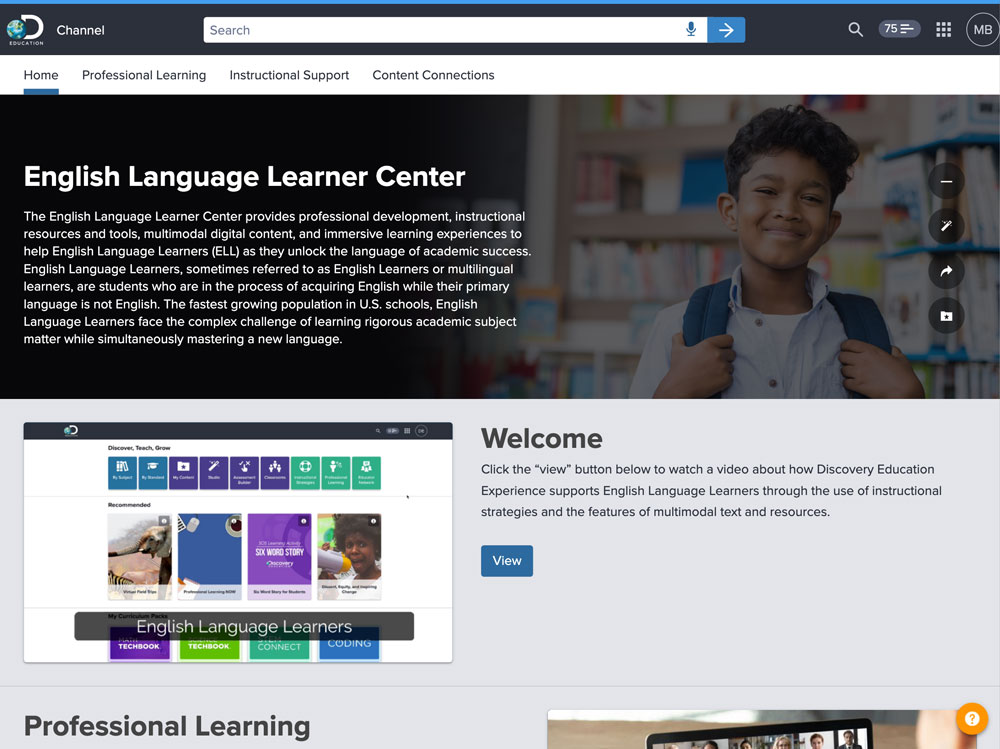 Screenshot of the English Language Learner Center in Discovery Education