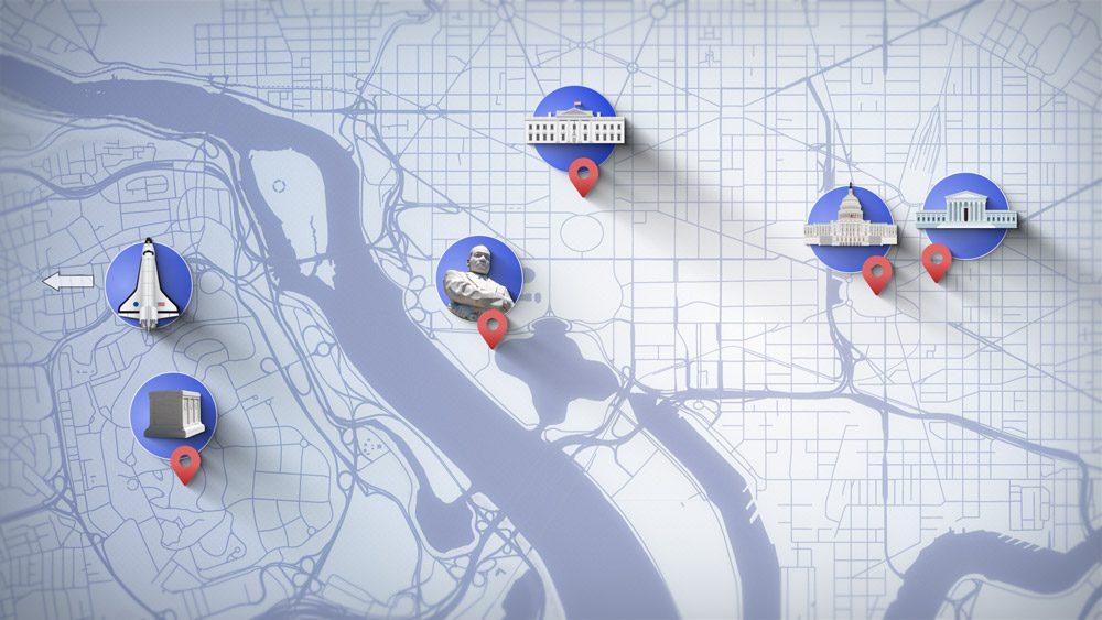 Washington DC Map with six landmarks