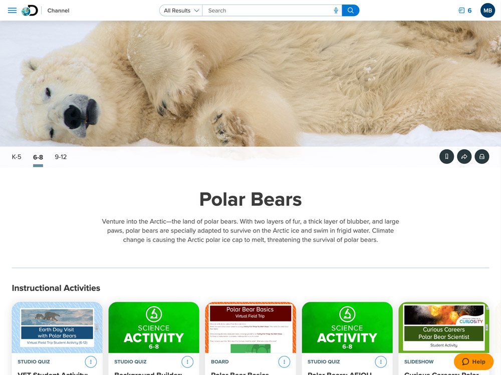 Polar Bear Channel in Discovery Education