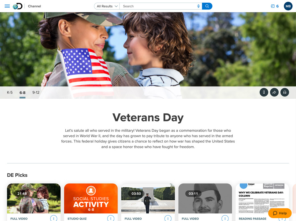 Veteran's Day Channel in Product